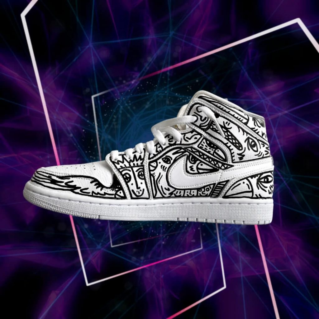 Air Jordan 1 Mids sneakers customized with black and whit contemporary totem line drawings  including abstract faces and cool designs for sale as NFT